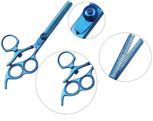 "6.5"" Swivel Thumb 3 Ring Blue Titanium Hair Cutting Shears Scissors Set"