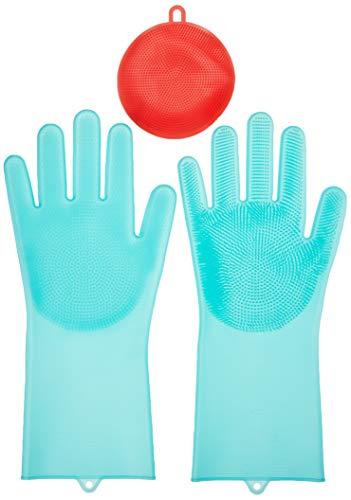 Maxtry 113006 - Juego de 2 estropajos de silicona, reutilizables, resistentes al calor, guantes de cocina para limpiar, plato, lavar el coche, mascotas Ha, goma, P1