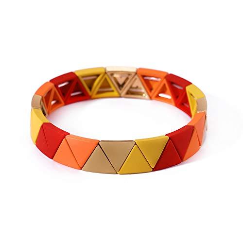 cooltime Boheemse Emaille Kleurrijke Blok Elastische Armband Eenvoudig Ontwerp Driehoek Geometrische Armband Sieraden voor Meisjes Vrouwen (Rood+Oranje+Honing)