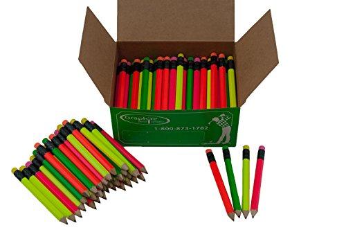 Half Pencils Sharpened Hex (Golf Pencils, Pew Pencil, Score Pencil, Short Pencil) (Assorted Neon (Green, Orange, Pink, Yellow))