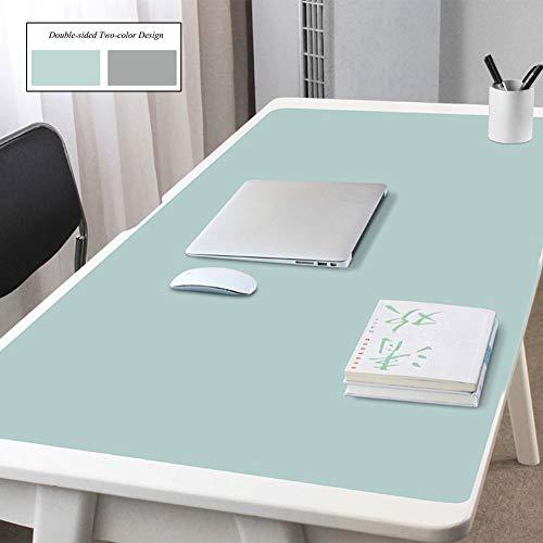 qwert Büro Schreibtischunterlage Beschützer Für Laptop Pc-Tastatur,pu Leder Schreibmatte Wasserdicht Gaming Mousepad,Anti-Slip Erweiterte Schreibtisch Blotter Beschützer-grün+grau 140x70cm(55x28inch)