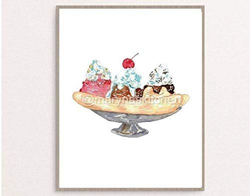 Banana boat split Ice Cream icecream Painting Wall Poster Watercolor Art Print