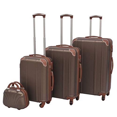 Four Piece Hardcase Trolley Set Water Repellent and Impact Resistant by BIGTO (Coffee)