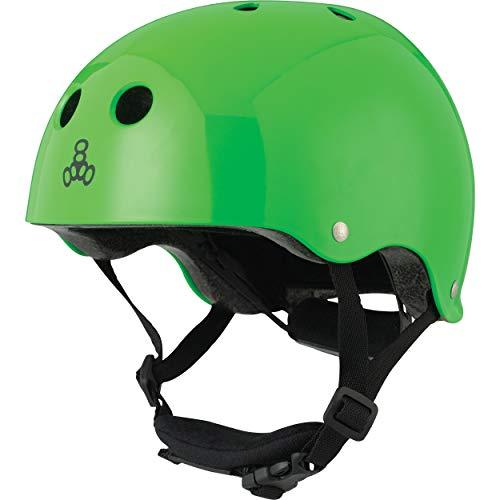 Triple Eight Lil 8 Dual Certified Sweatsaver Kids Skateboard and Bike Helmet with Padded Chin Buckle, Neon Green Glossy, (Model: 3926)