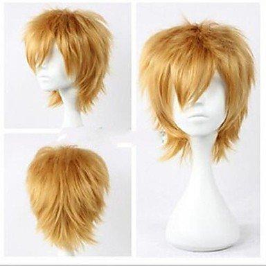 jiayy – droits – Perruque Cheveux Blond – de court – synthétique – pour de hommes Doré
