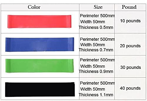 XEAXPPP 4 unids/Set 50 cm Bandas de Resistencia de tensión elástica 4 Niveles Bandas de Goma Bandas Yoga Culturismo Músculo Fitness Equipos de Equipos (Color : Multi)