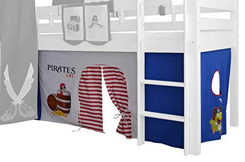 XXL Discount Rideau 3 pièces 100% Coton avec Bande pour lit Mezzanine Lit superposé Lit superposé Lit d'enfant