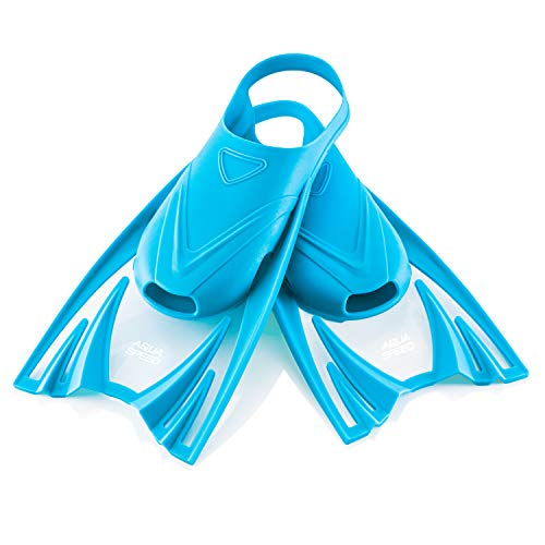 Aqua Speed leichte Trainingsflossen für Kinder Jungen I Kurze Schwimmflossen I Trainingsschwimmflossen weich I Blaue Kurzflossen Sport I Schnorchelflossen I Blau, Gr. 25-29 (S) I Frog