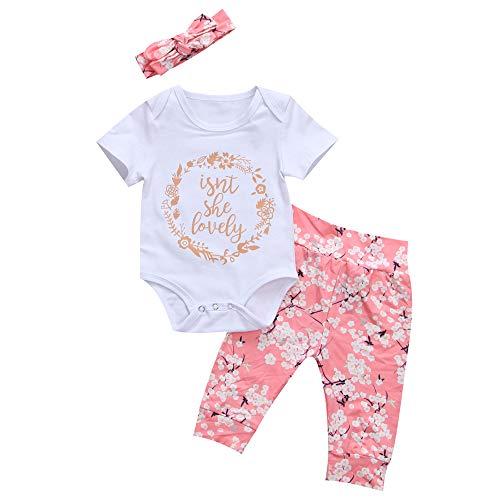 Anaike Conjunto de 3 piezas de ropa de bebé para niñas y niñas, diseño floral, rosa, 18 meses