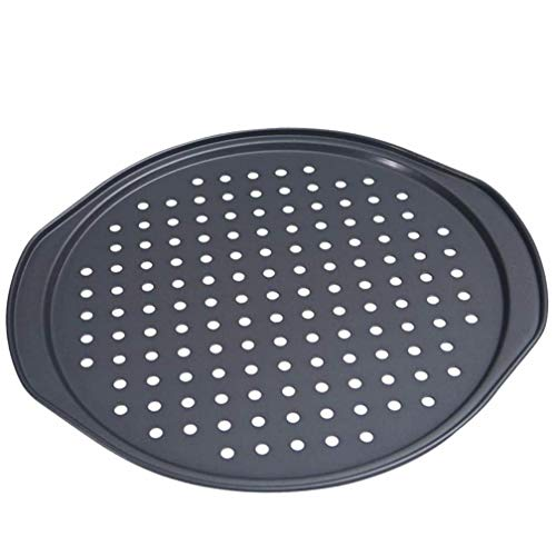 Alices Latest 14 Inch Nonstick Carbon Steel Pizza Pan Bakeware with holes Pizza Baking Pan for Oven Baking Supplies(35x33x15cm)