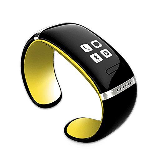 CursOnline - Reloj de pulsera con Bluetooth, altavoz, MP3, modelo ligero, sincronización de agenda, cuentapasos, podómetro, calorías quemadas, pantalla OLED modelo L12S original Taglia unica amarillo