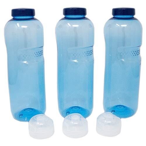 SAXONICA Original Kavodrink Trinkflasche Tritan 3 x 1 Liter + 3 x Sportdeckel Flip-Top BPA frei (ohne Bisphenol A)
