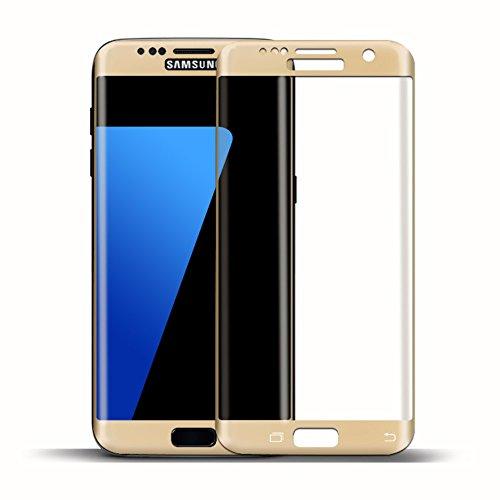 MYCASE Cristal blindado 3D para Samsung Galaxy S6 Edge, color dorado, lámina de cristal laminado 9H protector de pantalla