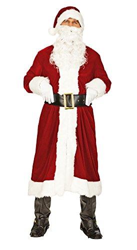 Nikolaus Weihnachtsmann Kostüm Set mit Mantel Nikolausmütze und Bart - Sehr schönes Komplettkostüm für Weihnachten - Gr. 50 52 M/L