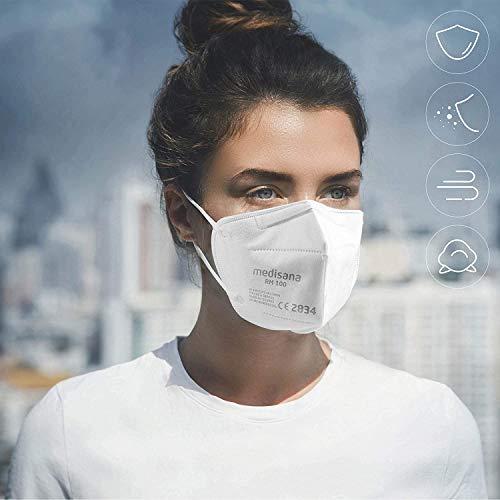 Medisana RM 100 FFP2/KN 95 Atemschutzmaske Staubmaske Atemmaske 3-lagige Staubschutzmaske Mundschutzmaske 10 Stück einzelverpackt im PE-Beutel - 2