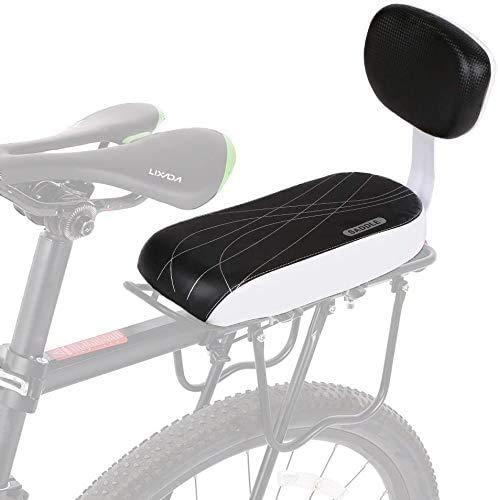 Cuscino Posteriore per Bicicletta,Sedile Posteriore per Bicicletta Ciclismo MTB,Posteriore Sedile Cuscino per Bambini,PU Spugna in Pelle Morbido Cuscino Rack per Bambini e Adulto con schienale