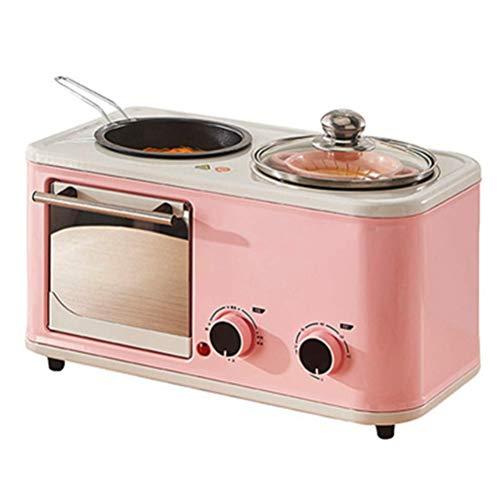 WZLJW Brot-Maschine Elektro-3 in 1 Haushalt Frühstück Maschine Mini Multifunktions-Edelstahl-Brot Toaster Backen Backofen Omelette Bratpfanne Hot Pot Boiler Dampfgarer, Blau DCZKS (Color : Pink)