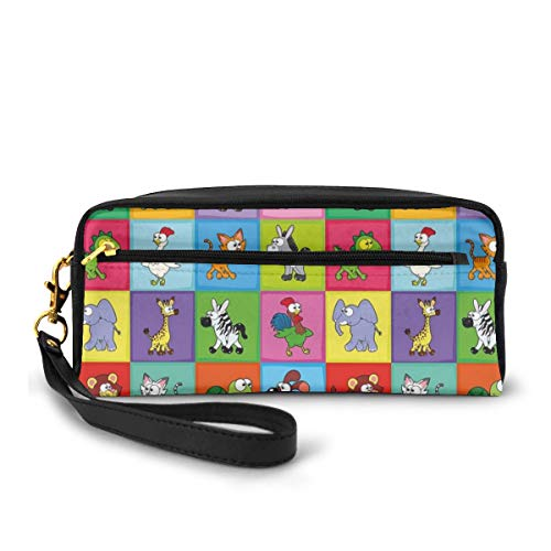 Pencil Case Pen Bag Pouch Stationary,Group of Funny Young Animals in Colorful Squares Happy Cartoon Wildlife Pattern,Small Makeup Bag Coin Purse