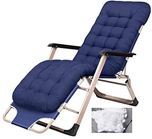 Fauteuils, stoelen Comfortabele fauteuil Terras Opvouwbare verstelbare fauteuil Buiten kantoor Strandfauteuil Brede terrasstoel met kussens (Kleur: Blauw), Kleur: Blauw (Colo Draagbaar