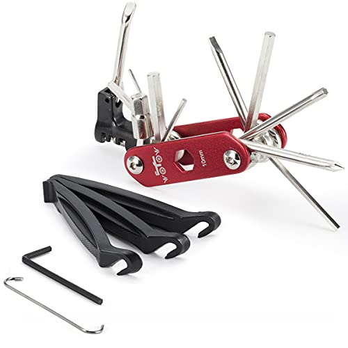 WOTOW 16(noir) fonctions Kit d'Outils pour vélos réparation Clés allen avec 3 démonte-pneus (14 in 1 tool red)
