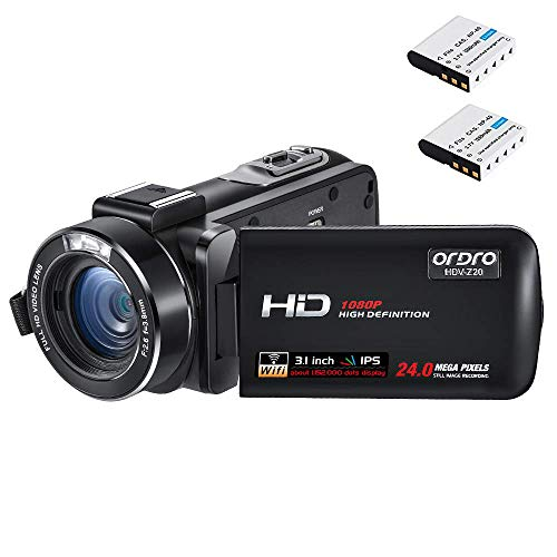 Camcorder 1080P ORDRO Z20 Full HD Video Kamera Vlogging Kamera 1080P 16X Digitalzoom Digitale Videokamera mit Fernbedienung, 2 Batterien, 16GB SD Karte