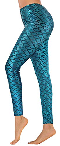 Sexy Fish Scale Mermaid Printed Leggings Skinny Pants for Women Deep Blue L