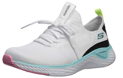 Skechers Stretch Flat Knit Laced Slip- Sneaker Damen, Weiß (White Knit Mesh/Multi Trim Wmlt), 39.5 EU