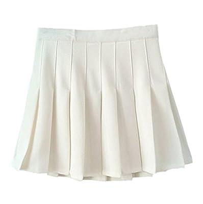 Women School Uniforms plaid Pleated Mini Skirt,4,White a