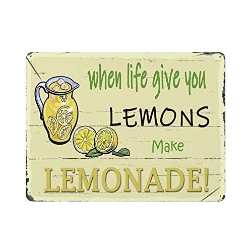 Kai gyvenimas dovanos jums citrinas, gaminkite limonado skardos ženklą metalinės plokštės dailumas, kabantis geležies tapyba Retro namų virtuvės sodo garažo sienų dekoras 12 'x16'