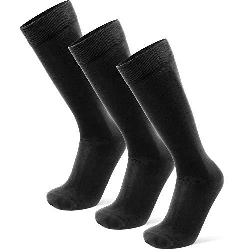 DANISH ENDURANCE Weiche Kniestrümpfe für Herren und Damen, kniehohe Socken, 3 Pack (Schwarz, 43-47)