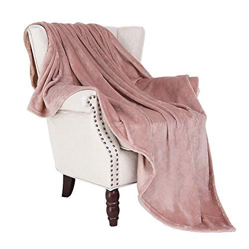 EXCLUSIVO MEZCLA Kuscheldecke( 127x178cm, Rosa) Microfaser Flanell Decke für Zuhause, Reise, Sofa/ Stuhl - Plüsch, warme weiche, Leichtgewichtig, Falten-Beständig und Anti-Verfärben