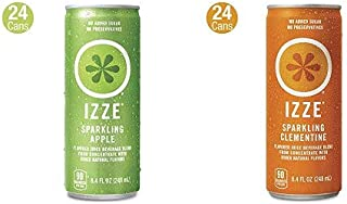 IZZE Sparkling Juice, Apple, 8.4 oz Cans, 24 Count AND IZZE Sparkling Juice, Peach, 8.4 oz Cans, 24 Count