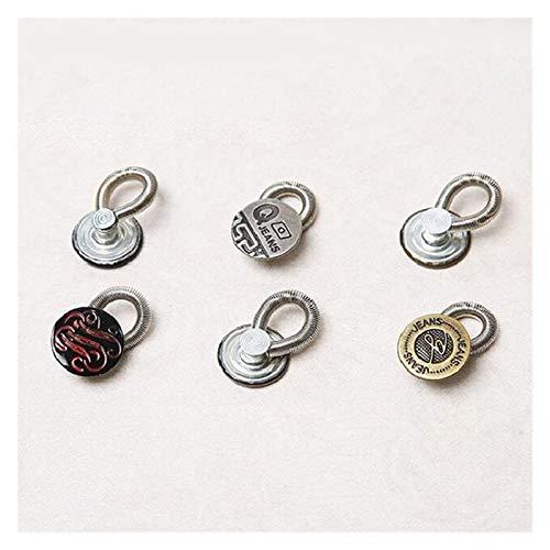 WEIZI 6 piezas de metal botón herramienta de costura pantalones vaqueros botón cintura estiramiento extensor 2 cm fijo extensor