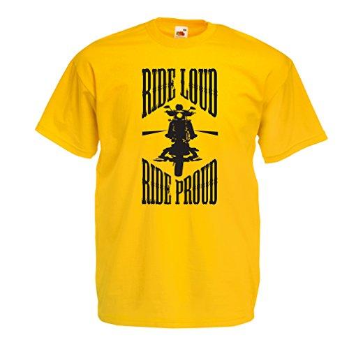 N4695 Männer T-Shirt Ride Loud! (Small Gelb Mehrfarben)