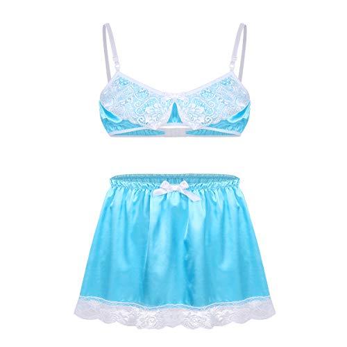 CHICTRY Herren Bikini Set Dessous Satin Nachthemd Männer Sissy Unterwäsche Spaghetti BH Bra + Rock Reizwäsche Clubwear Himmelblau X-Large