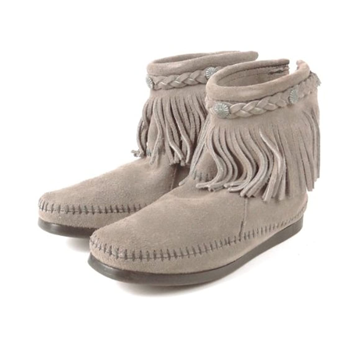 ゲージ砂利ほのかMINNETONKA (ミネトンカ) バックジップ フリンジ ショートブーツ Hi Top Back ZIP Boot [並行輸入品] #291T/GREY/グレー US7.5