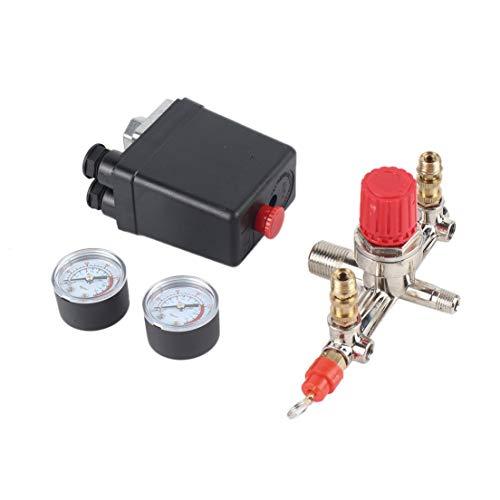 BiaBai 40343 Interruptor de presión ajustable Interruptor de compresor de aire Regulador de presión con 2 manómetros de presión Juego de control de válvula