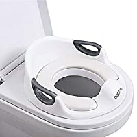 ❤[Materiale sicuro] : il sedile del water per bambini è realizzato in materiale PP di alta qualità, privo di BPA, atossico e innocuo. Il morbido cuscino e lo schienale in PU offrono comfort per il tuo bambino. ❤[Facile da pulire] : la piccola spazzol...