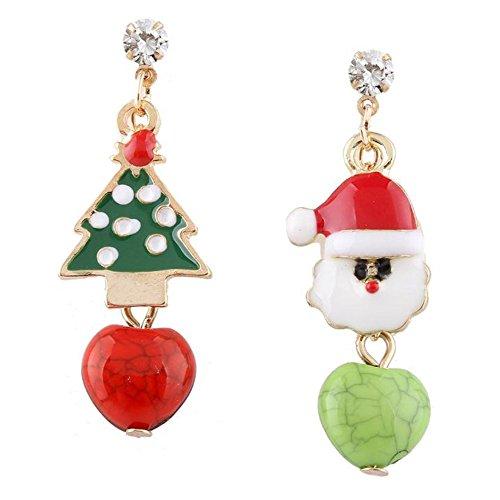 LAAT 1 par Pendientes de árbol de Navidad Pendientes de Santa Claus Decoración navideña