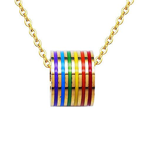 JUPPE LGBT Rainbow Charm Necklace Gay and Lesbian LGBT Neckalce Pendant Gift (Gold)