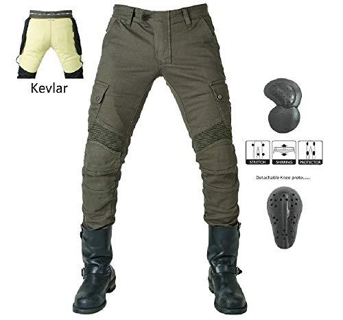 """WCCI Vaqueros de moto para hombres - Kelvar - Protección Aramid Motocicleta Pantalones Biker Pants (Verde militar, S=31.5""""(80cm waist))"""