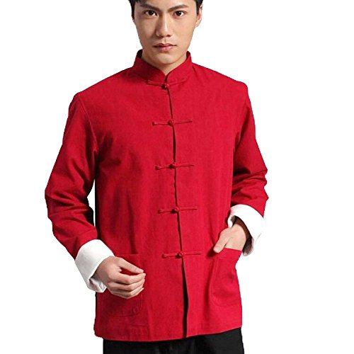 ZooBoo Men's Cotton Kung Fu Coats Tang Suit Long-Sleeved Jackets (L, Red)
