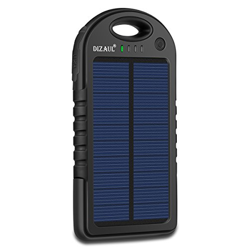 Solar Charger, Dizaul 5000mAh Portable Solar Power Bank Waterproof/Shockproof/Dustproof Dual USB Battery Bank for Cell...