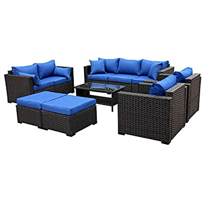 Patio PE Wicker Furniture Set -7 Pcs Outdoor Black Rattan Conversation Seat Couch Sofa Chair Set with Royal Blue Cushion
