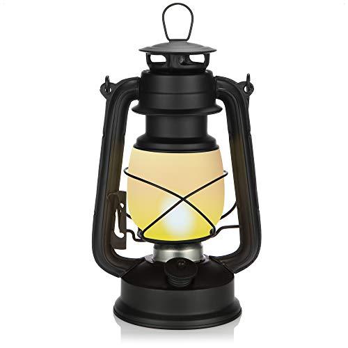 com-four Linterna Colgante LED con luz Parpadeante, lámpara Colgante inalámbrica, Linterna de huracán Que Funciona con Pilas para Fiestas, Jardines y Festivales, Linterna para Acampar (Negro)