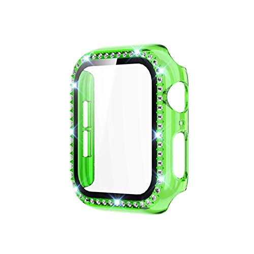 LRJBFC Protector de Pantalla PC Funda de parachoque para Apple Watch Series 6 SE 5 4 3 Tapa Protector de Pantalla Transparente para iWatch 4 3 44mm 42mm (Color : Green, Dial Diameter : 38mm)