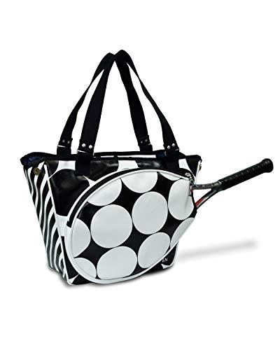 Bolsa Tenis Mujer - Raquetero de Tenis Mujer - Con bolsillo para Raquetas de Tenis - Bolsa Tote Impermeable - Ideal para Guardar Zapatillas, Ropa y Pelotas de Tenis - Color Negro/Blanco - 45x36x13 cm