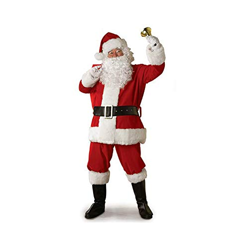 Adult Christmas Santa Claus Cosplay Costume Coat Pants Beard Belt Hat Xmas Cosplay Props Unisex Clothes Set (Red, XXXL)