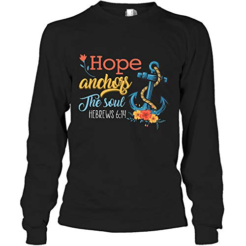 AZSTEEL Hope Anchors The Soul Bible Scripture - Camiseta de manga larga