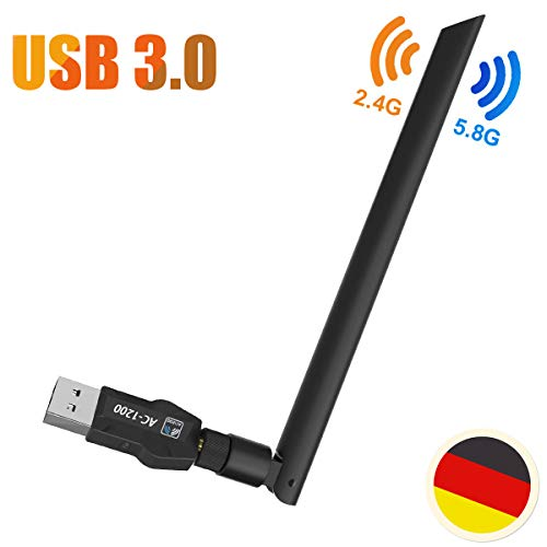 AndMore WiFi Adapter Stick, USB 3.0 WiFi Adapter 1200Mbps/s WLAN Dongle Dualband (5.8G/867Mbps+2.4G/300Mbps) Empfänger mit 5dBi Antenne für Windows, Mac OS X,PC/Desktop/Laptop